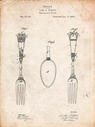 Antique Spoon and Fork Patent-Cole Borders-Art Print