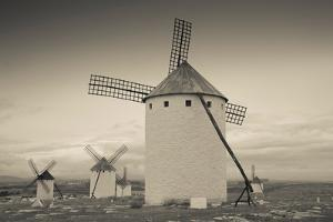 Antique windmills in a field, Campo De Criptana, Ciudad Real Province, Castilla La Mancha, Spain