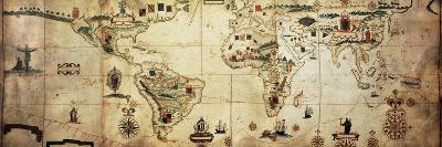 Antique World Planisphere Portolan Map Of Spanish And Portuguese Maritime And Colonial Empire-marzolino-Art Print