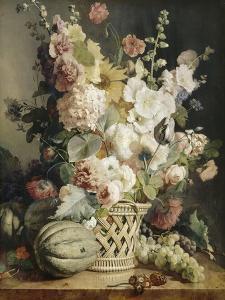 Fleurs et fruits dans une corbeille d'osier by Antoine Berjon