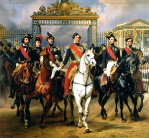 King Louis-Philippe of France and His Sons Leaving the Chateau of Versailles on Horseback, 1846 by Antoine Charles Horace Vernet