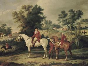 Le Départ pour la chasse : portraits équestres en costume de chasse de Louis Philippe, duc by Antoine Charles Horace Vernet