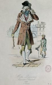 "Mode parisienne ; ""Merveilleuse et Incroyable"" : le Muscadin; by Antoine Charles Horace Vernet"