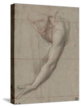 Etude d'un buste de jeune femme drapée penchée en avant
