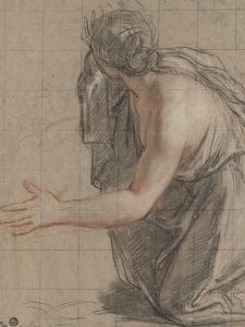 Femme drapée agenouillée, se retournant en ouvrant les bras by Antoine Coypel