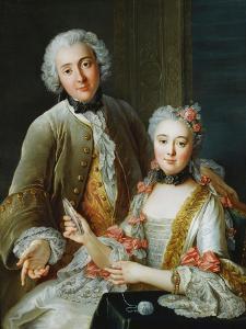 Portrait of Francois De Jullienne Standing Beside His Wife, Seated, C.1743 by Antoine Coypel