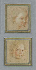 Tête de jeune fille, vue de trois quarts vers droite ; Tête d'enfant, vue presque de trois quarts by Antoine Coypel