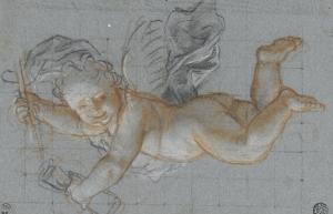 Un amour planant dans les airs, un objet dans chaque main ; deux amours volant se donnant la main by Antoine Coypel