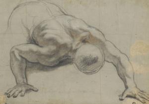Un homme renversé la face contre terre, s'appuyant sur les deux mains by Antoine Coypel