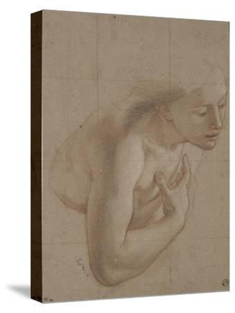 Une demi-figure de femme nue, tournée à droite, une main sur la droite