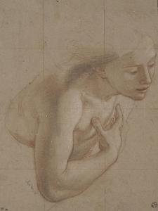 Une demi-figure de femme nue, tournée à droite, une main sur la droite by Antoine Coypel
