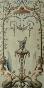 opéra royal : panneau d'arabesques avec rinceau, sirènes, fleurs et fruits by Antoine-François Vernet