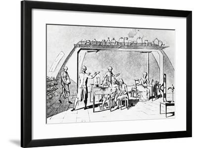 Antoine-Laurent De Lavoisier (1743-1794) in His Laboratory During an Experiment on a Man's Respirat--Framed Giclee Print