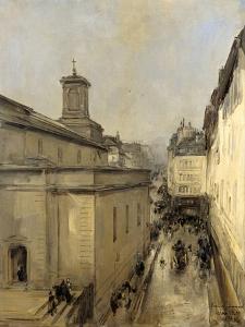 Church of Notre Dame De Lorette and the Rue Flechier, Paris by Antoine Vollon