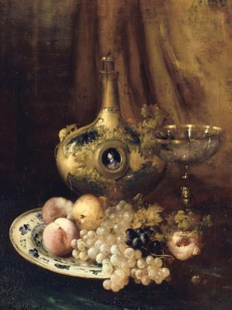 Fruits et objets d'art sur une table avec l'aiguière de François Ier by Antoine Vollon