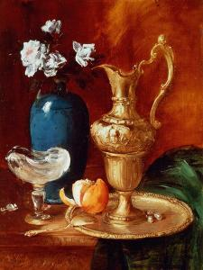 Still Life of a Gilt Ewer, Vase of Flowers and a Facon De Venise Bowl by Antoine Vollon