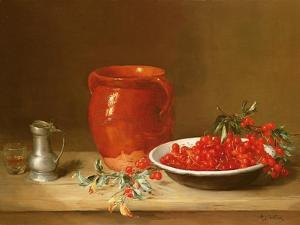 Still Life of Cherries in a Bowl by Antoine Vollon