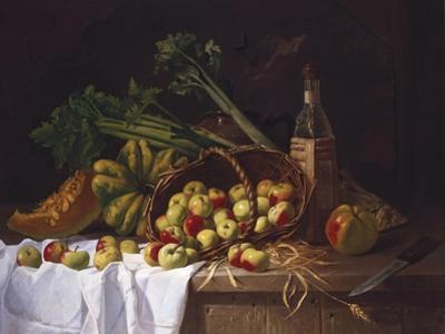 Still Life with a Bottle of Wine, Rhubarb and an Upturned Basket of Apples on a Table by Antoine Vollon