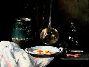 Still Life with Eggs, 20th Century by Antoine Vollon