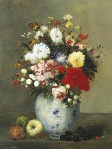 Still Life with Summer Flowers and Fruit by Antoine Vollon