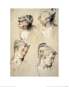 Four Studies of a Young Woman's Head by Antoine Watteau