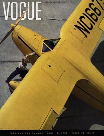 Vogue Cover - June 1937 - Yellow Plane