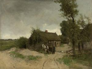 A House with Barn on a Dirt Road on the Moor by Anton Mauve