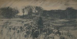 'A sketch of a shepherd and his flock', 19th century by Anton Mauve