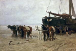 Boat on the Beach at Scheveningen, 1876 by Anton Mauve