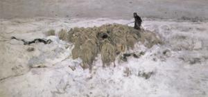 Flock of Sheep in the Snow by Anton Mauve