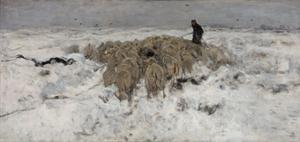 Flock of Sheep with Shepherd in the Snow, 1887-1888 by Anton Mauve