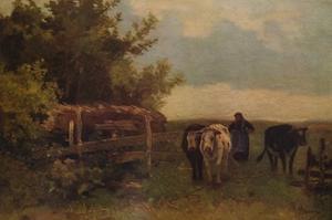 'Minding Cows, Herisson', c1869, (1938) by Anton Mauve