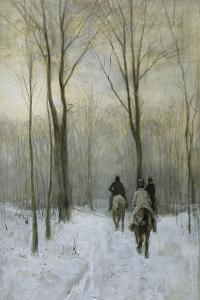 Riders in the Snow in the Haagse Bos by Anton Mauve