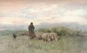 'Shepherd and Flock', 19th century by Anton Mauve