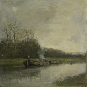Two Barges Along the Shore of a Barge Canal by Anton Mauve