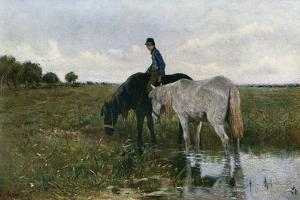 Watering Horses, 1871 by Anton Mauve