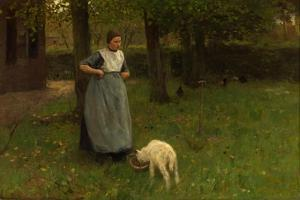 Woman from Laren with Lamb, 1885 by Anton Mauve