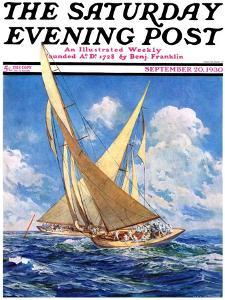 """""""America's Cup Race,"""" Saturday Evening Post Cover, September 20, 1930 by Anton Otto Fischer"""