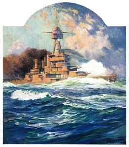 """""""Battleship at Sea,""""April 9, 1932 by Anton Otto Fischer"""