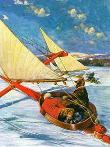 """""""Ice Boating,""""February 1, 1929 by Anton Otto Fischer"""