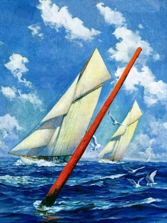 """""""Sailboat Race,""""July 1, 1928 by Anton Otto Fischer"""