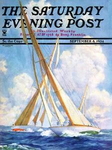 """Sailboat Regatta,"" Saturday Evening Post Cover, September 8, 1934 by Anton Otto Fischer"
