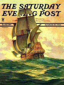 """Spanish Galleon,"" Saturday Evening Post Cover, March 30, 1935 by Anton Otto Fischer"