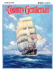 """Three Masted Schooner,"" Country Gentleman Cover, March 1, 1932 by Anton Otto Fischer"