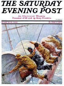 """""""Trim the Sails!,"""" Saturday Evening Post Cover, March 18, 1933 by Anton Otto Fischer"""