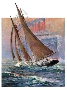 """""""Yacht and Steamship,""""January 23, 1932 by Anton Otto Fischer"""