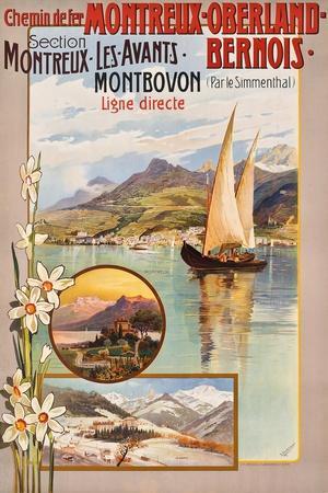 Werbung für die Bahnstrecke Montreux?Lenk im Simmental. Ca. 1910