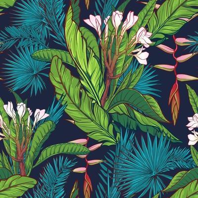 Tropical Jungle Seamless Pattern on Dark Blue Background