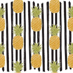 Pineapple Hand Drawn Sketch Striped Seamless Pattern. Vector Illustration. by Anton Yanchevskyi