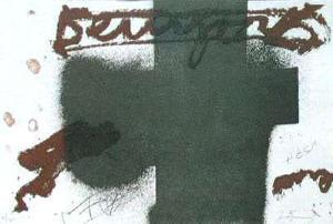 Croix noire by Antoni Tapies